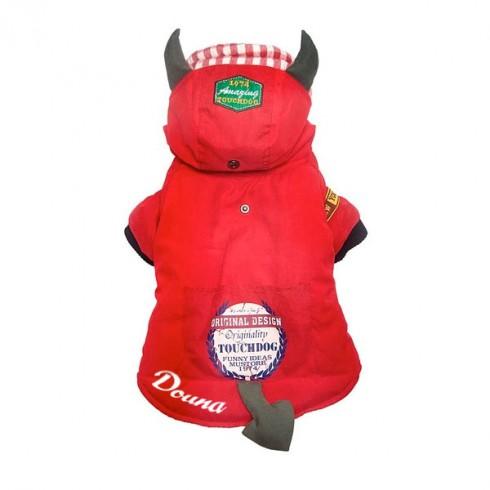 Manteau diablotin rouge pour chien personnalisé