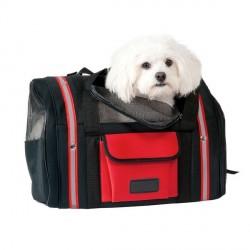 sac de transport pour chien rouge et noir