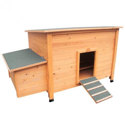 Poulailler fort en bois clair pour 3 a 5 poules pondeuses for Plan de construction poulailler industriel