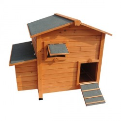 Poulailler Happy Hen en bois clair pour 3 à 4 poules pondeuses