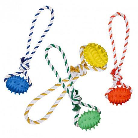 Ballon de Rugby sur corde pour chien