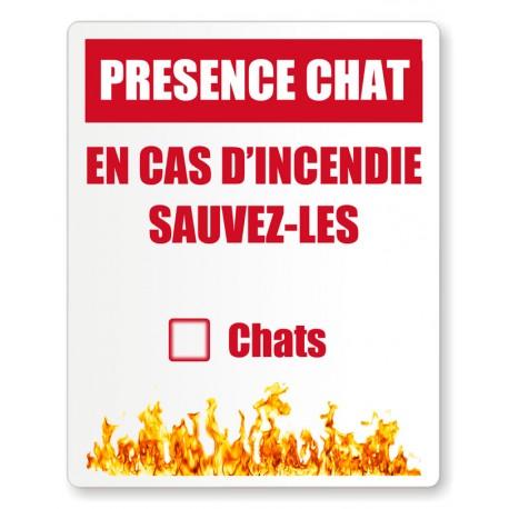Stickers pompiers présence chat