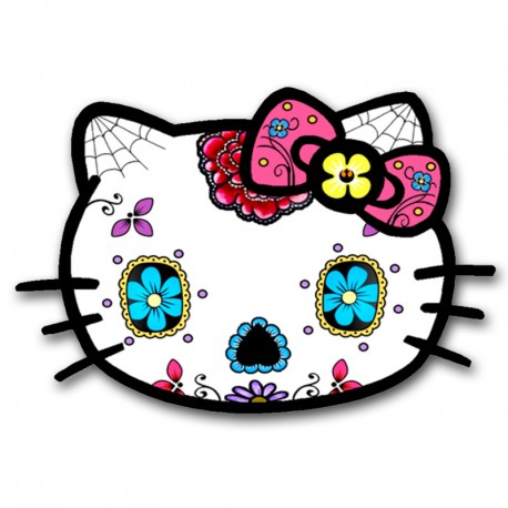 Stickers Hello Kitty tete de mort mexicaine