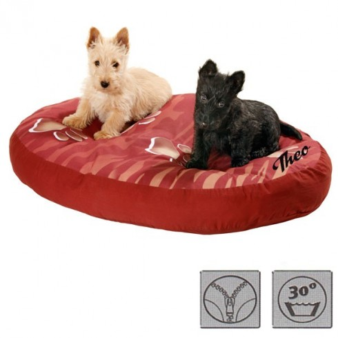 coussin rouge ovale chien personnalisable. Black Bedroom Furniture Sets. Home Design Ideas