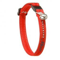 Collier chat cuir rouge avec strass