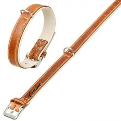 Collier comfort cuir marron