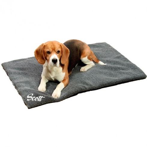 Couverture chien personnalis e grise - Couverture pour petit chien ...