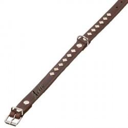 Collier cuir marron chien personnalisé avec clous