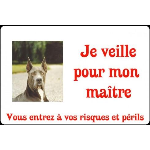 Plaque de rue personnalisée chien Je veille