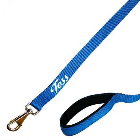 Laisse chien personnalisé avec poignée confortable bleue