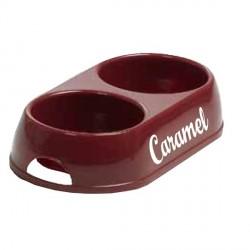 Gamelle double pour chien rouge foncé personnalisée
