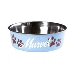 Gamelle Bleue fun pour chien personnalisée avec le prenom