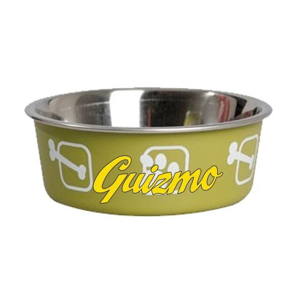 Gamelle verte fun pour chien personnalisee avec le prenom - Porte gamelle chien design ...