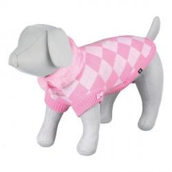 Pull over rose à carreaux rose pour chienne