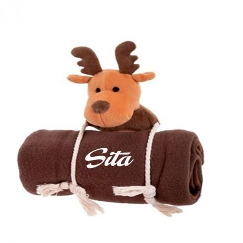 Cadeau couverture  cerf ou père noel pour chien