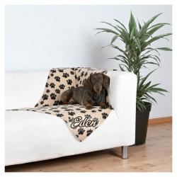Couverture beige et pattes noires pour chien personnalisée prénom