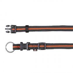 Collier pour chien réfléchissant noir et orange